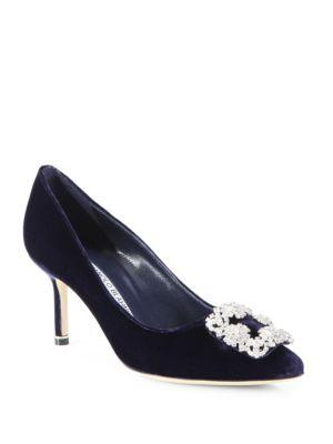 Manolo Blahnik Hangisi 70 Embellished Velvet Pumps In Navy Velvet