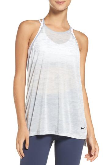 Nike Breathe Training Tank In Wolf Grey/ Heather/ Black