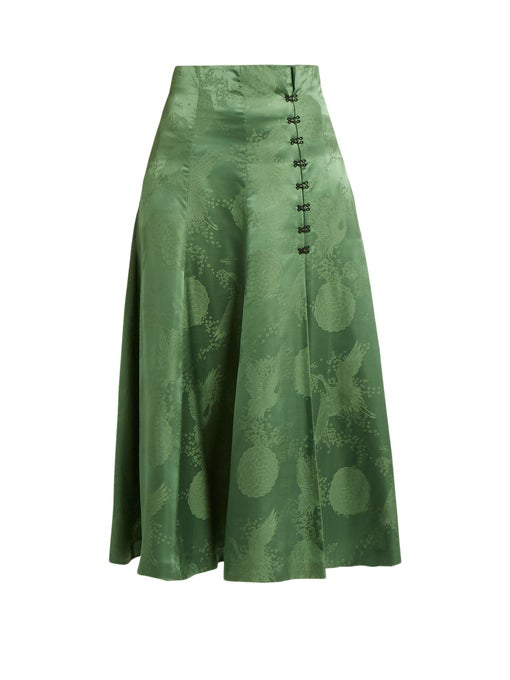 Rosie Assoulin A-line Satin Midi Skirt In Green