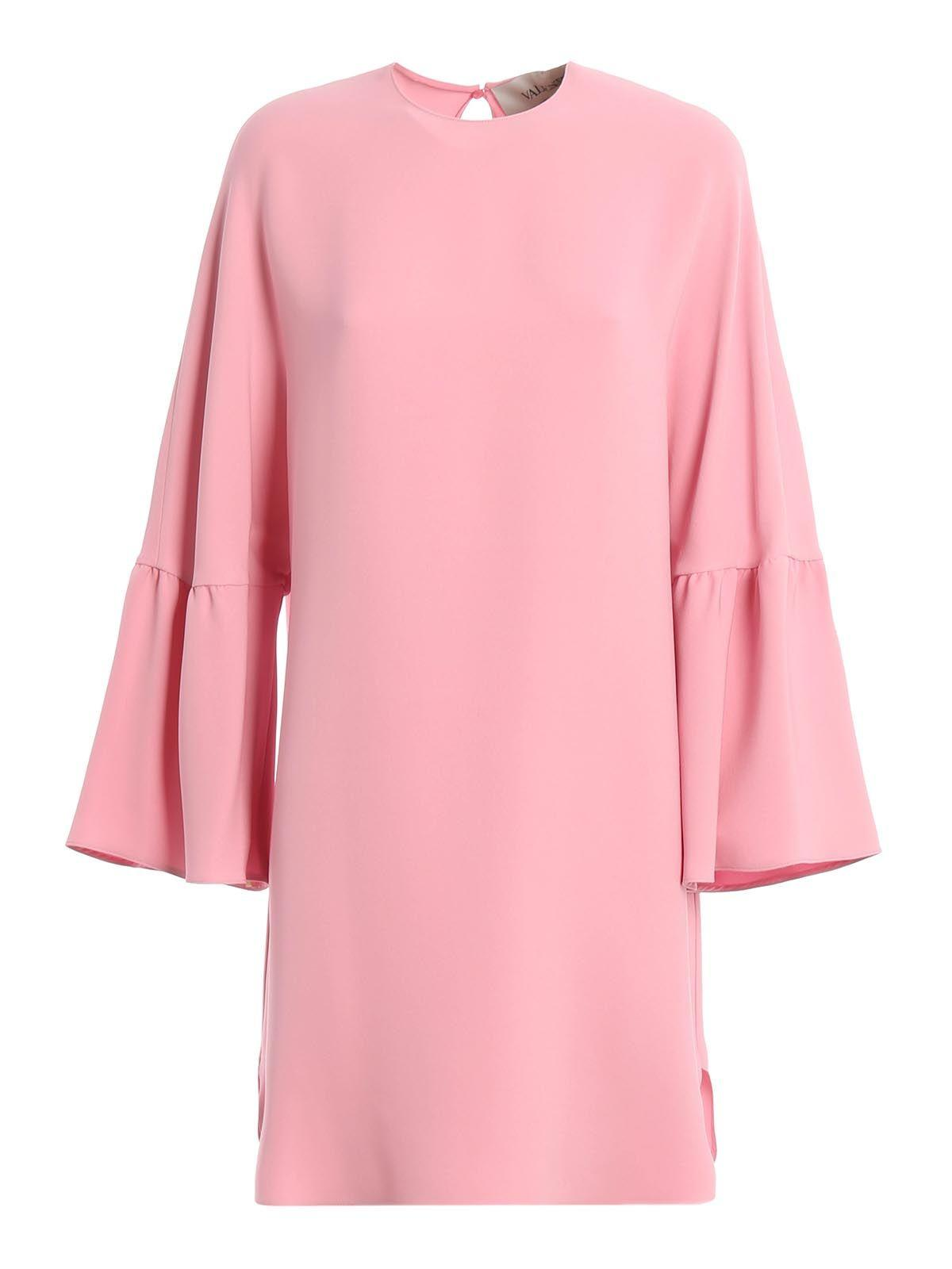 Valentino Bell-sleeves Dress In Pink & Purple