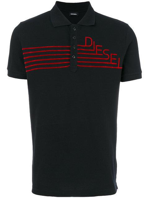 Diesel Logo Embroidered Polo Top - Black
