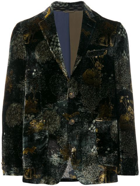 Etro Forest-patterned Regular-fit Velvet Jacket In Green