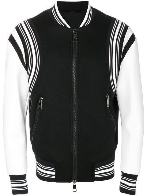 Neil Barrett Neoprene Varsity Jacket In Black