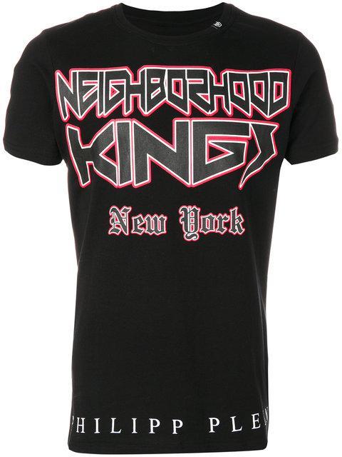 """Philipp Plein T-shirt Round Neck Ss """"new York Stones"""" In Black"""