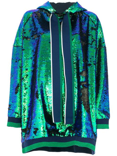 Mira Mikati Oversized Sequin Hoodie In Seagreen