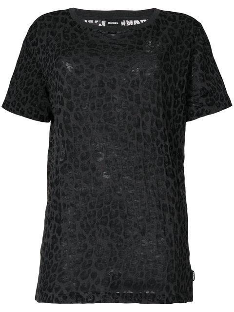 Diesel Leopard Print T-shirt In Green