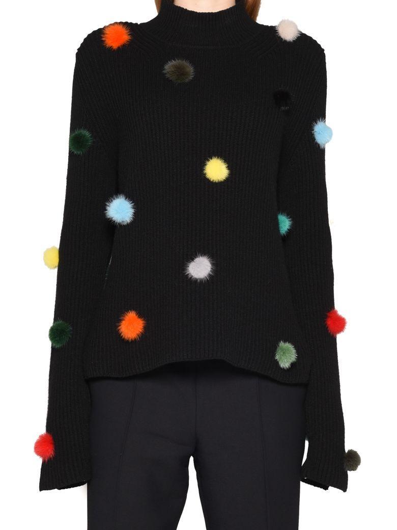 Fendi Knit Pom Pom Jumper In Black