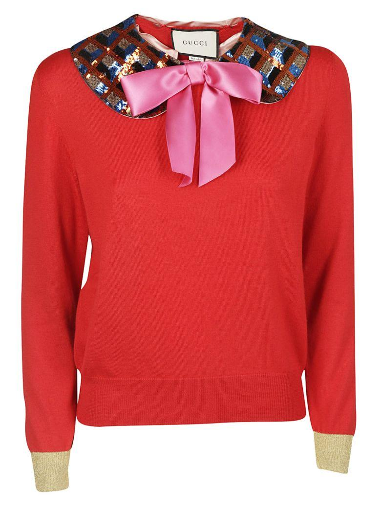 Gucci Sequin Detail Sweater In Fuxia