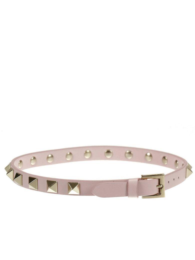 Valentino Garavani Jewel Rockstud Double Leather Bracelet With Studs In Pink