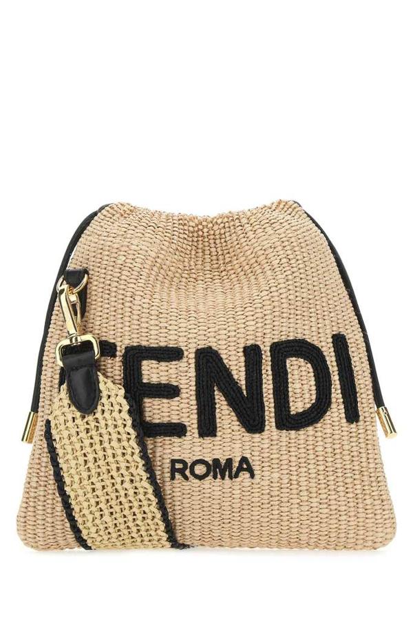 Fendi Logo Woven Shoulder Bag In Beige