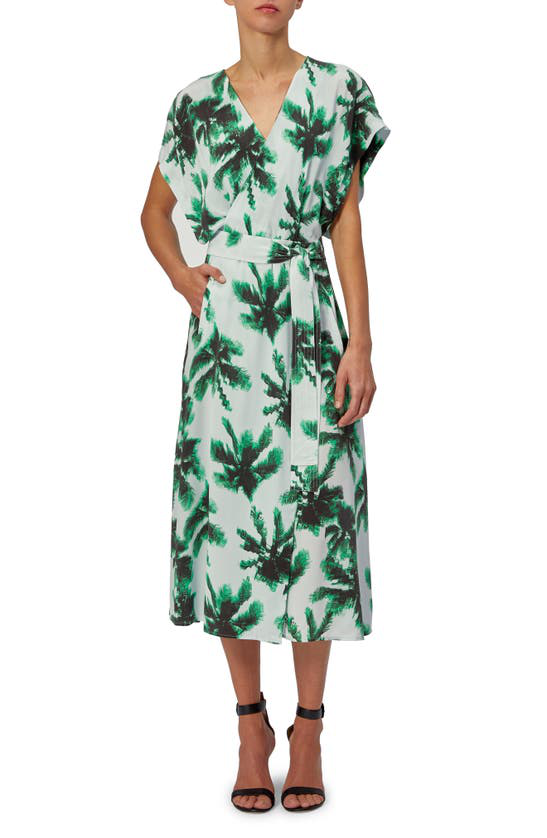 Equipment Bijou Palm Print Silk Midi Dress In Plein Air Mlt