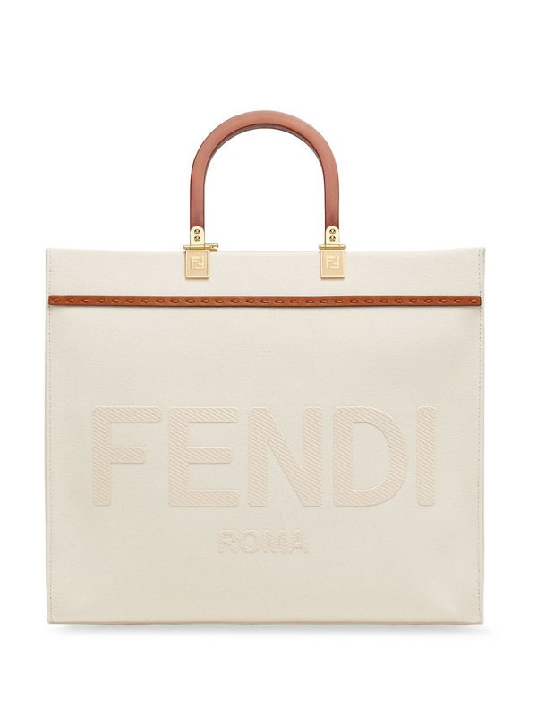 Fendi Sunshine Shopping Bag With Embroidered Logo In White