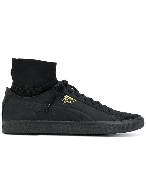 Puma Clyde Sock Select Leather Sneakers In Black