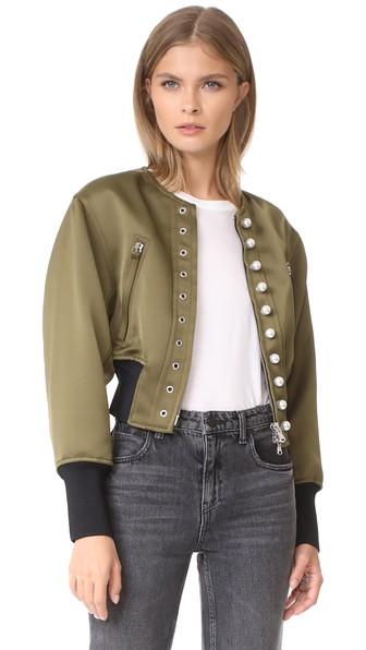 3.1 Phillip Lim Grommet & Faux Pearl Embellished Bomber Jacket In Moss