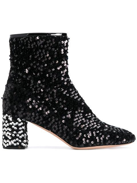 Rochas Sequin Ankle Boots In Metallico