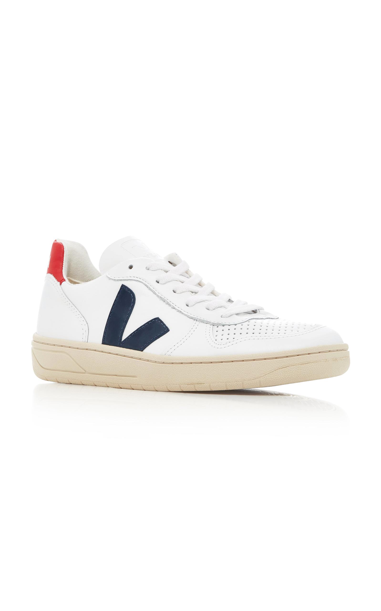 Veja V10 Nautico Leather Sneakers In White