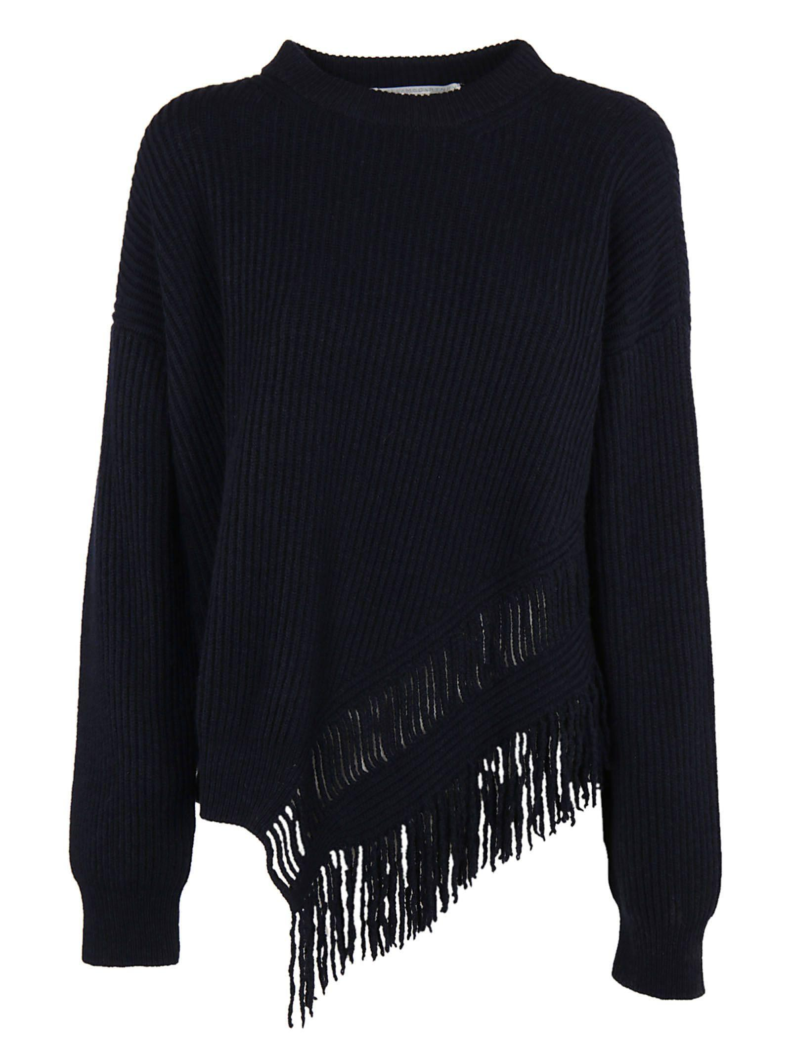 Stella Mccartney Knit Fringed Top In Black