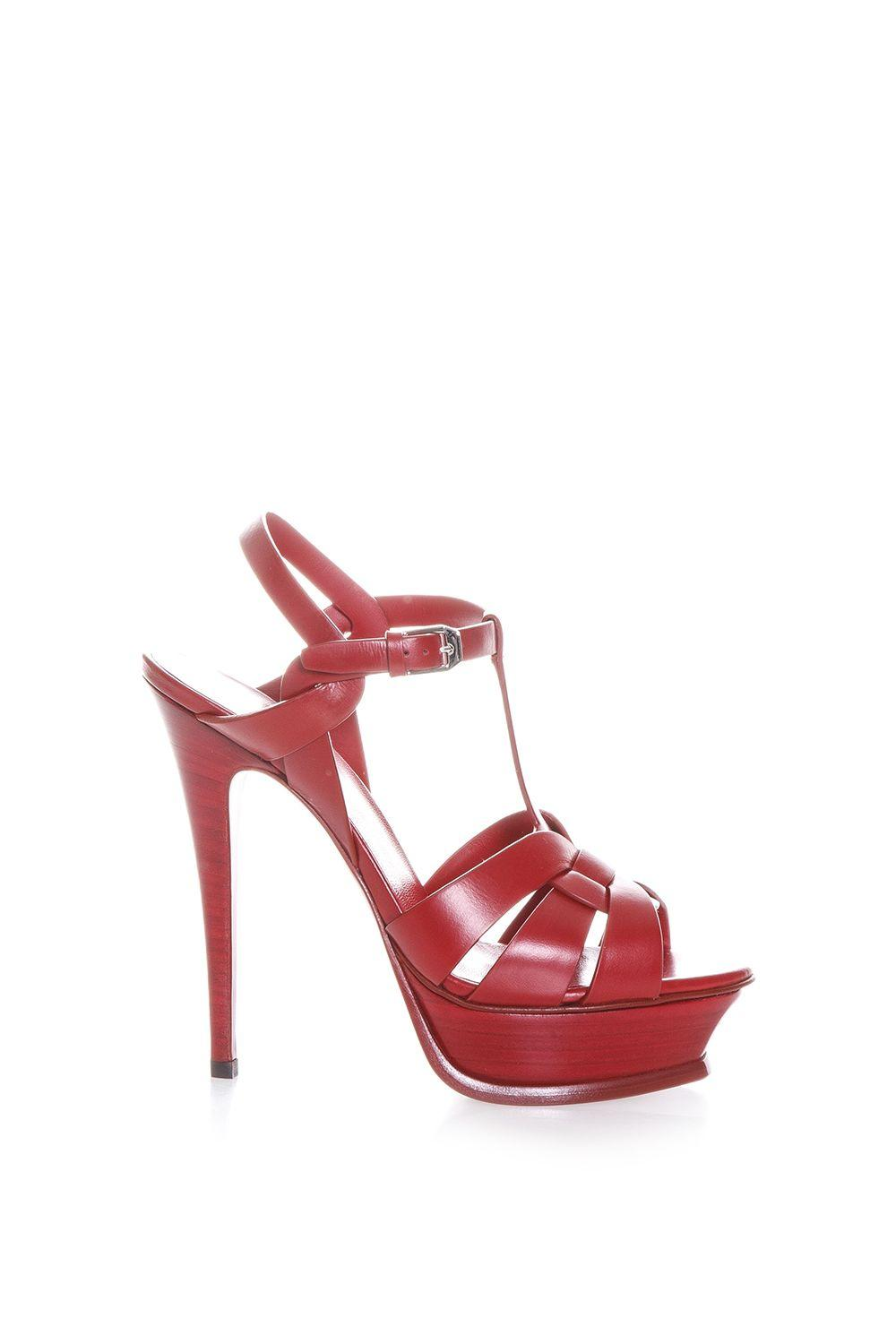 Saint Laurent Tribute Leather Sandals In New Red