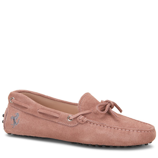 Tod's For Ferrari Gommino Driving Shoes In Suede In Pink