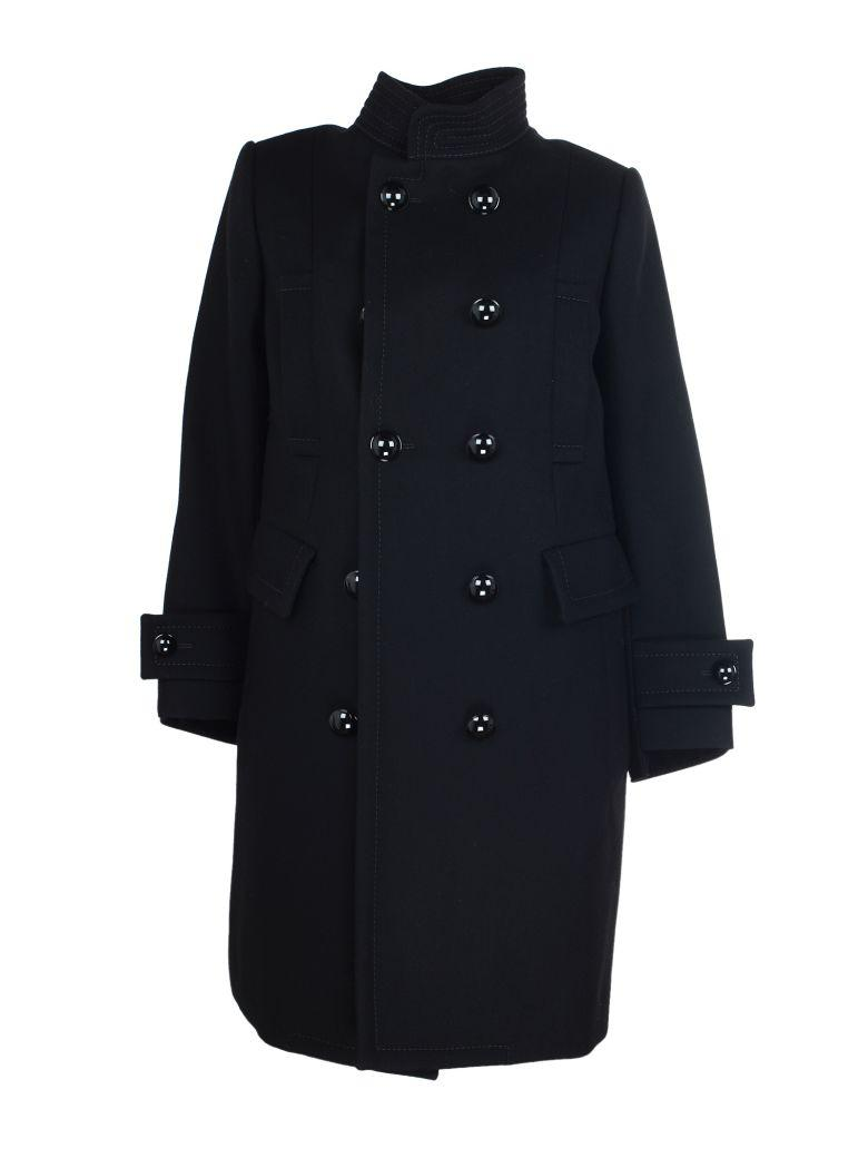 Sacai Double Breasted Coat In Black