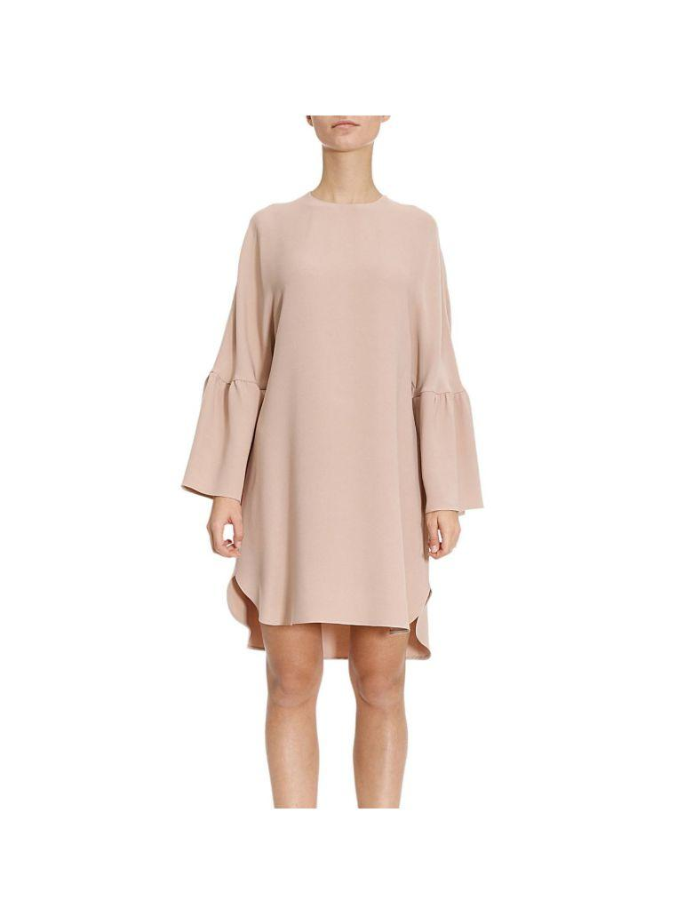 Valentino Dress Over Dress With Large Sleeves And Double Length On The Bottom In Nude