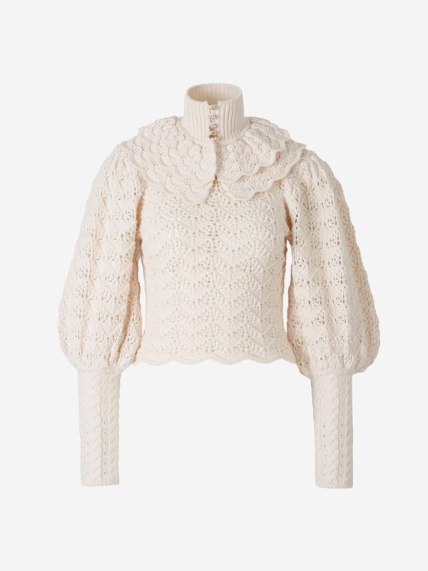 Zimmermann Ladybeetle Crochet Sweater In White