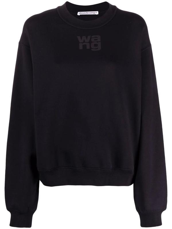 Alexander Wang T Women's Logo Terry Crewneck Sweatshirt In Black