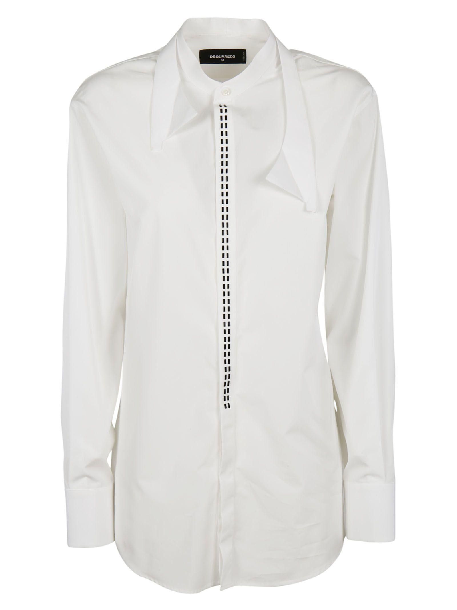 Dsquared2 Deconstructed Collar Shirt In White