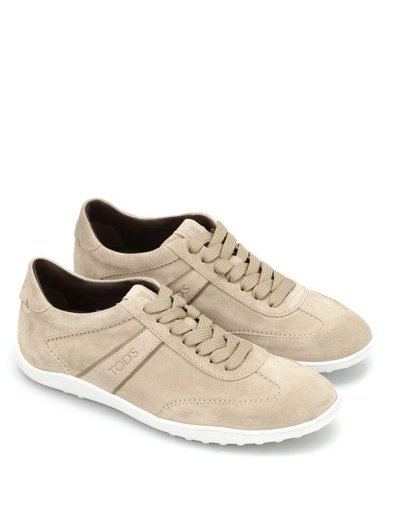 Tod's Active Suede Lace-up Sneakers In Talpa Chiaro+fondo Bianco