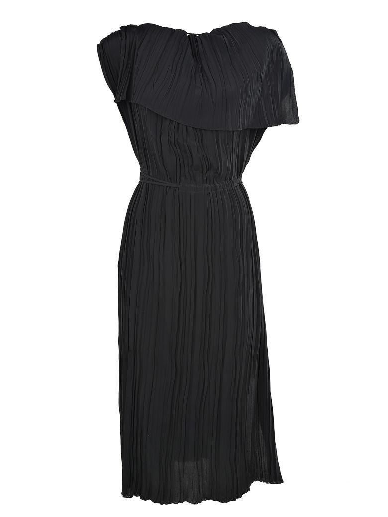 Marni Pleated Crepe Dress In Black