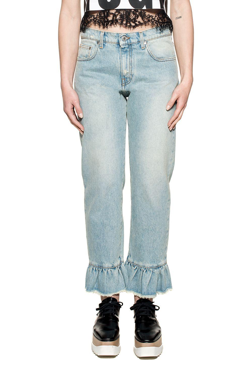 Msgm Light Blue Ruffled Denim Jeans