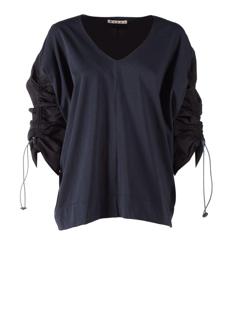 Marni Jersey And Linen Drawstring Sleeve Sweatshirt In Blublack