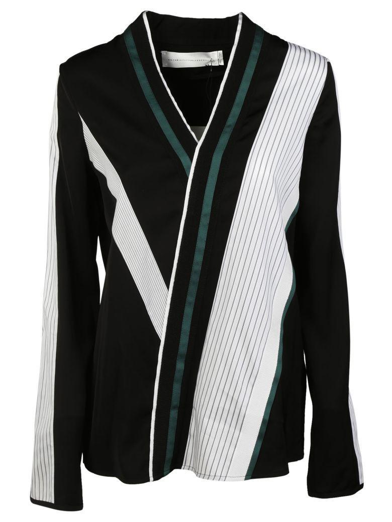 Victoria Beckham Striped Wrap Blouse In Black