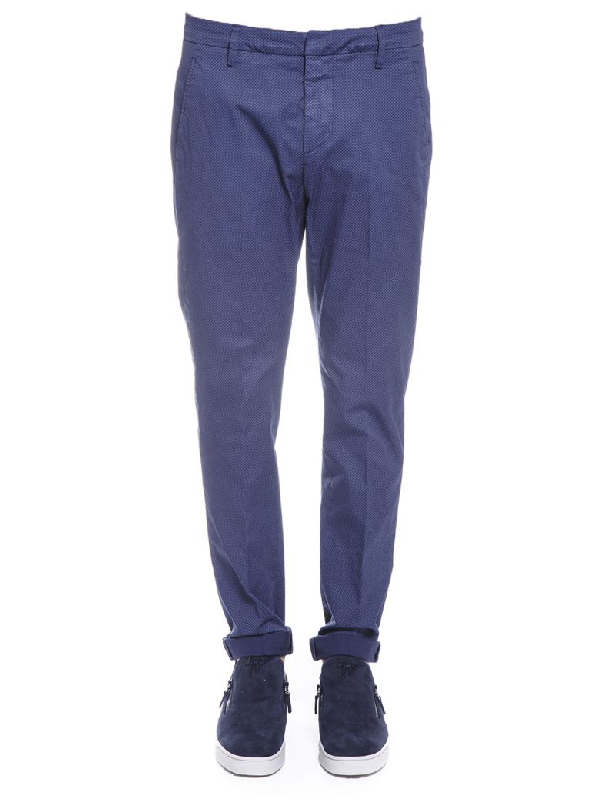 Dondup George Skinny Fit Cotton Trousers In Blue