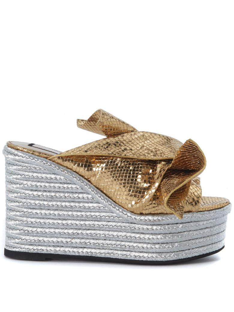 N°21 N°21 Gold Laminated Leather Slipper With Bow In Oro