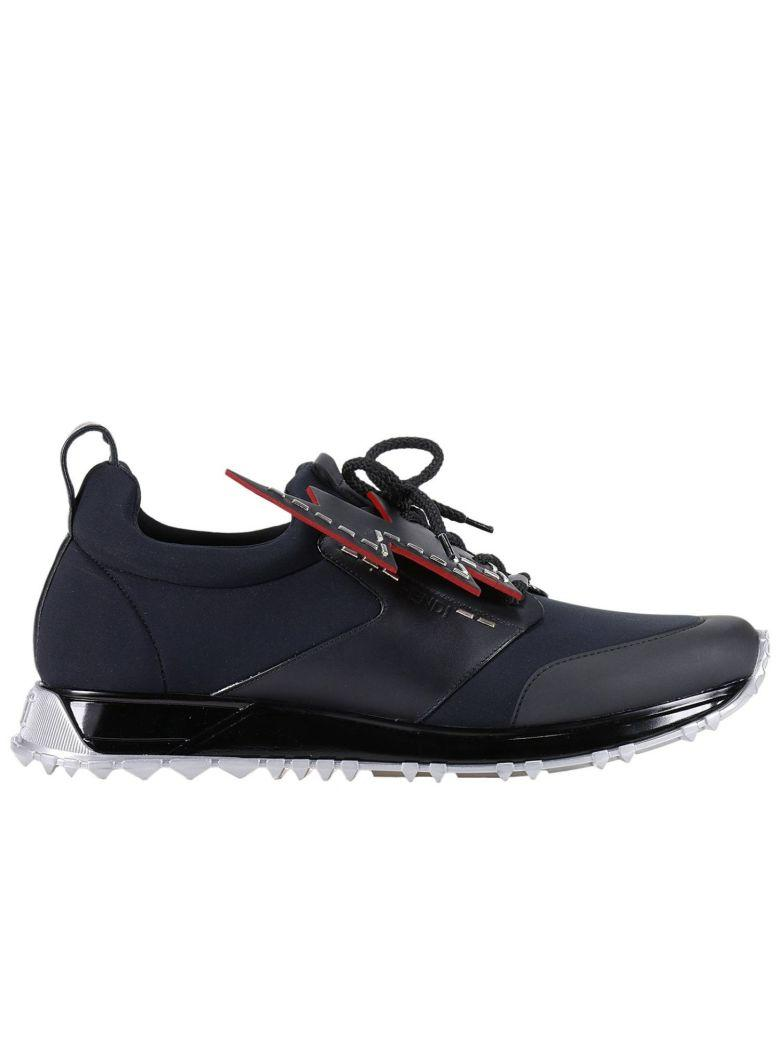 Fendi Lace-up With Lightning Bolt Sneakers - Black