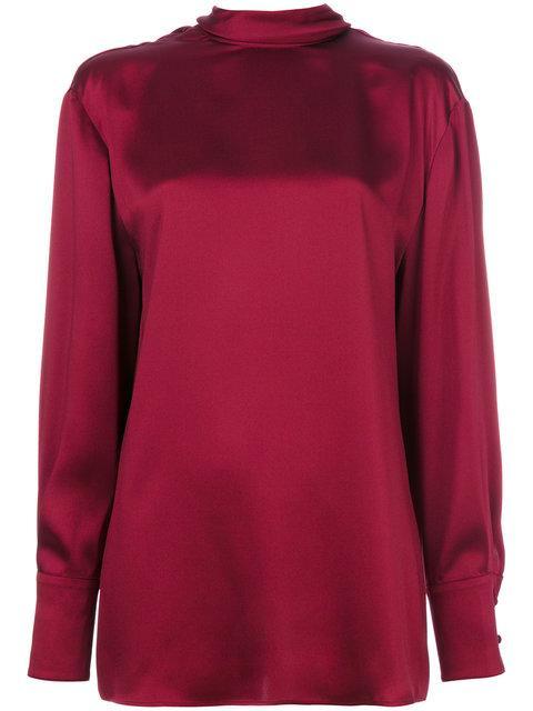 Valentino Tie Collar Blouse - Red