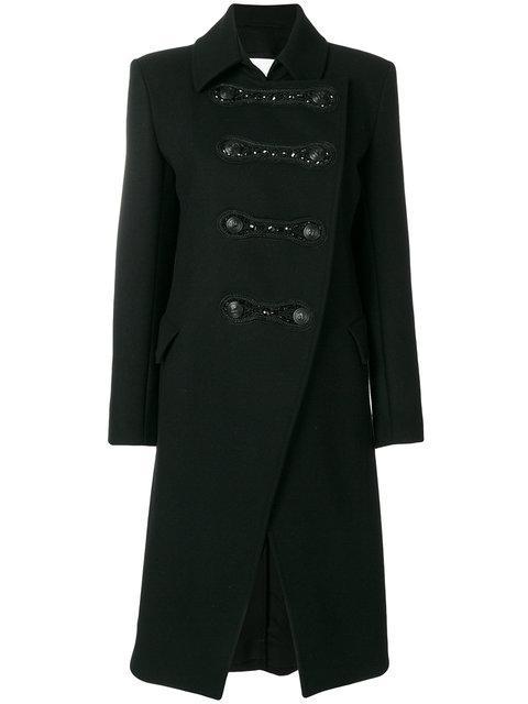 Pierre Balmain Asymmetric Military Coat In Black