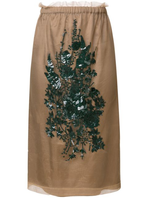 N°21 Embroidered Skirt In Neutrals