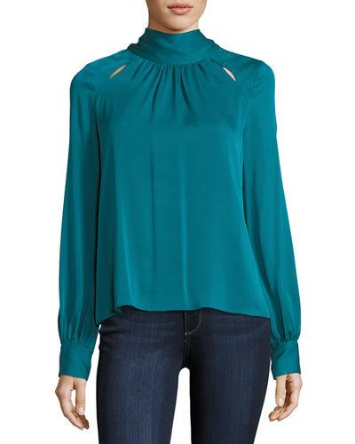 bf1c0daa72cc6 Milly Simona Tie-Neck Stretch-Silk Blouse In Teal