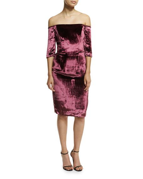 Milly Slim Off-The-Shoulder Panne Velvet Cocktail Dress, Burgundy