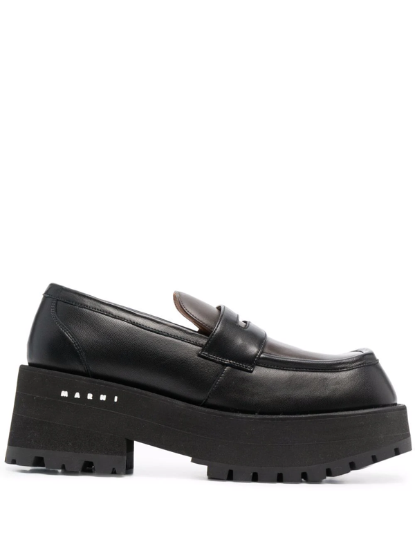 Marni Leather Platform Loafers In Schwarz