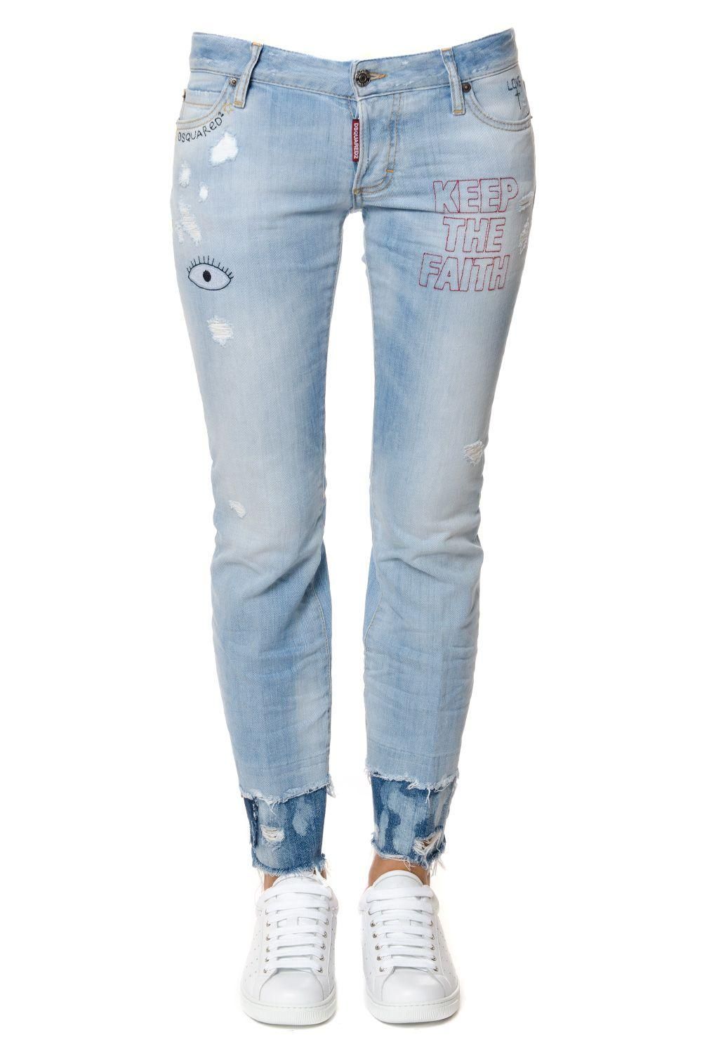 Dsquared2 Flare Embroidered Denim Jeans