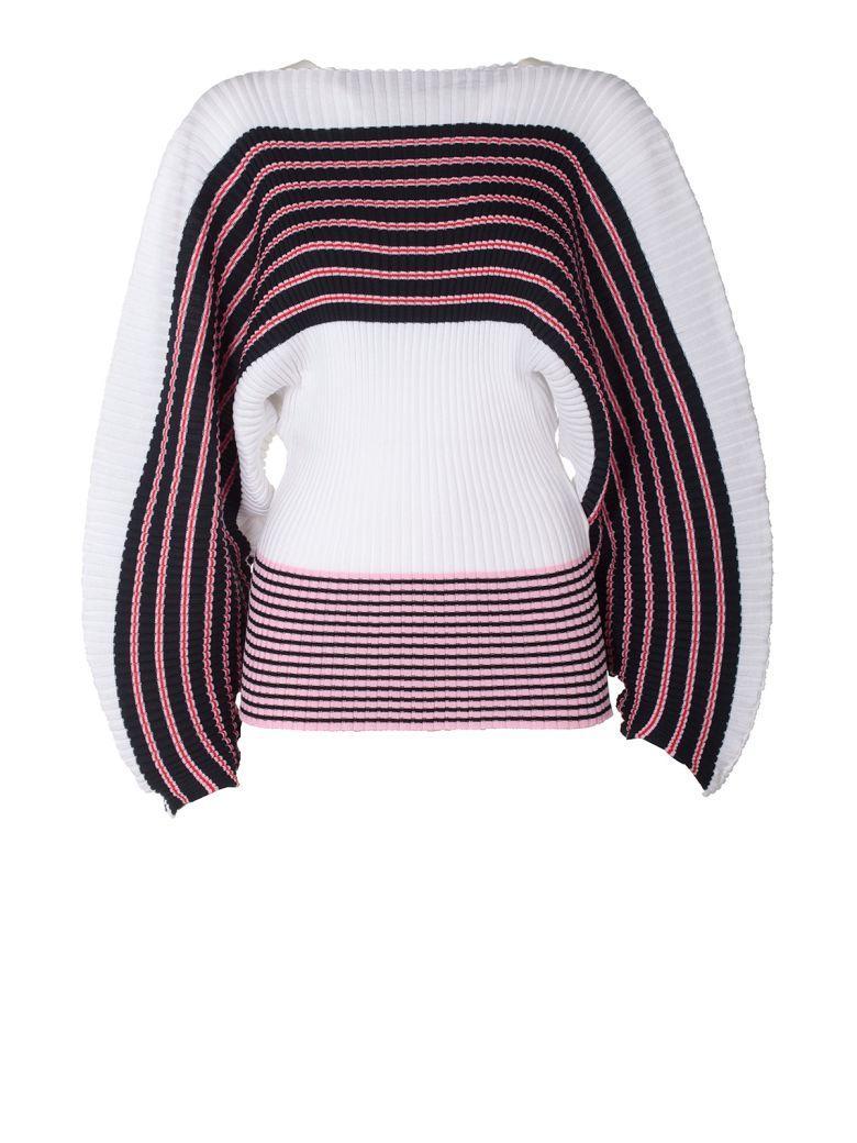 Msgm Woman Striped Ribbed Cotton Sweater White In Multi