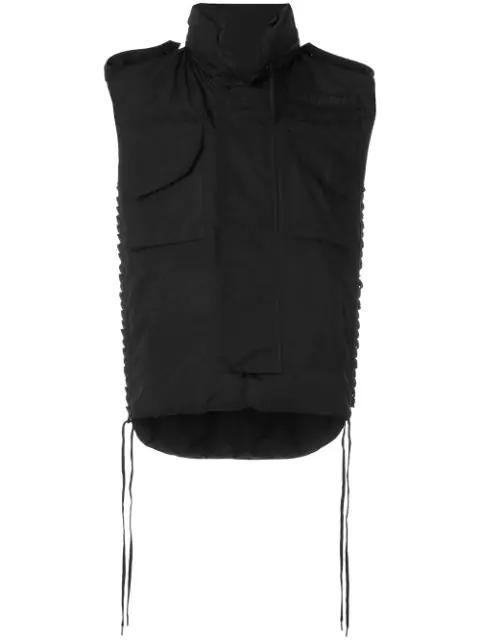 Ktz Padded Vest Jacket In Black