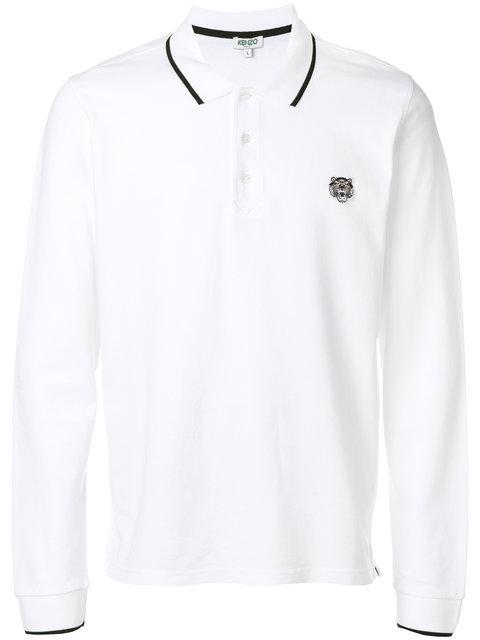 Kenzo Polohemd Mit Tiger-stickerei In White