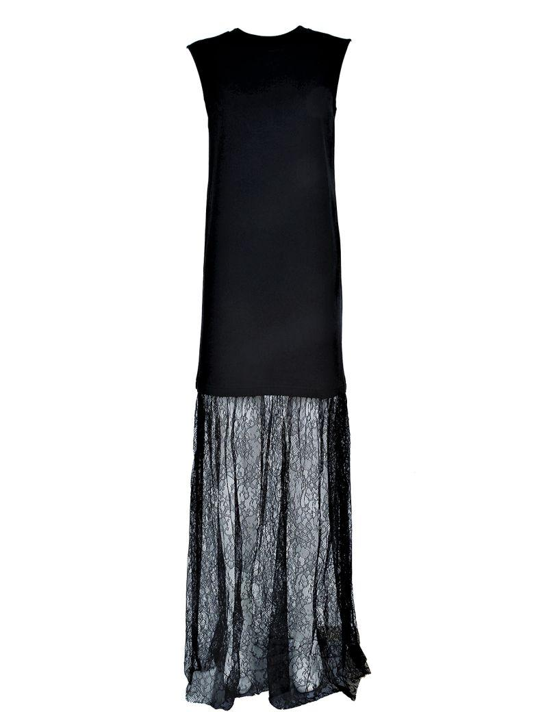 Mcq By Alexander Mcqueen Lace And Cotton-jersey Long Dress In Nero