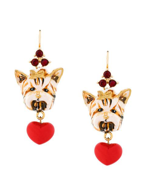 Dolce & Gabbana Dog Charm Earrings In Multi