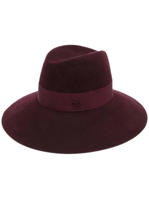 Maison Michel 'henrietta' Rabbit Furfelt Fedora Hat In Red Black