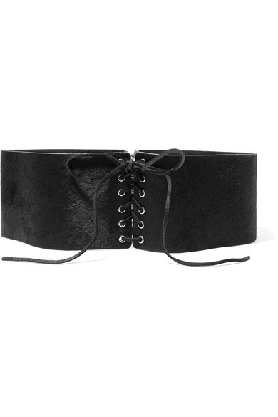 Frame Lace-up Calf Hair Belt In Black